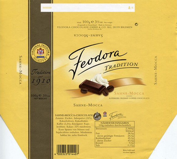 Milk chocolate with coffee flavoured, 100g, 2012, Feodora Chocolade Gmbh&Co, Bremen, Germany