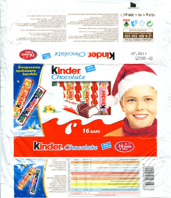 Kinder chocolate, 16 bars, 200g, 07.2011, Ferrero OHG MBH, Stadtallendorf, Germany