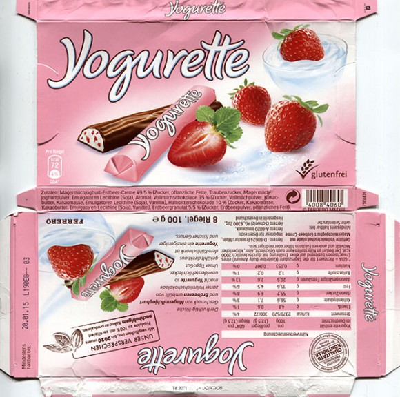 Yogurette, filled milk chocolate with strawberry cream, 100g, 8 pieces, 20.01.2014, Ferrero OHG MBH, Stadtallendorf, Germany