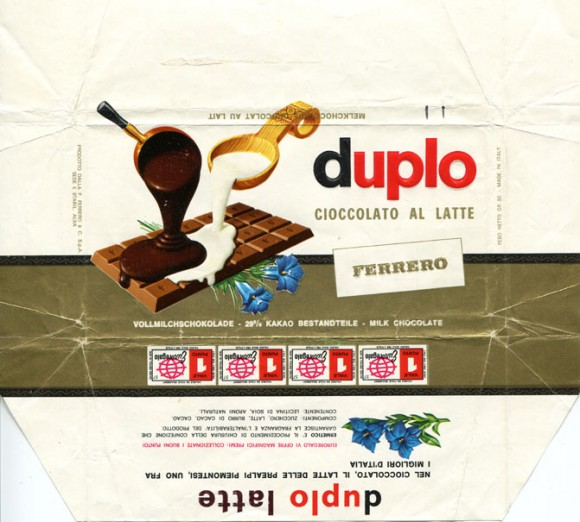 Duplo cioccolato al latte, milk chocolate, 100g, about 1960, Ferrero, Alba, Italy