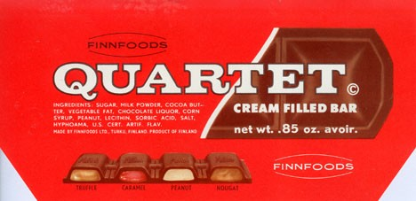 Quartet, cream filled bar, Finnfoods Ltd, Turku, Finland