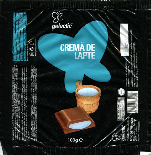 Crema de lapte, milk tablet with milk filling, 100g, 01.11.2010, Food Distributione, Baia Sprie, Romania