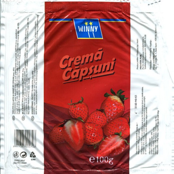 Milk tablet with strawberry filling, 100g, 13.04.2011, Food Distributione, Baia Sprie, Romania