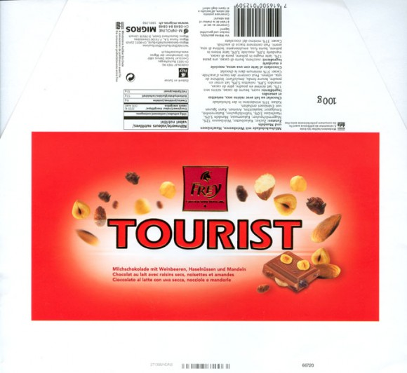 Tourist, milk chocolate with raisins and hazelnuts and almonds, 100g, 2003, Chocolat Frey AG, Buchs/Aargau , Switzerland