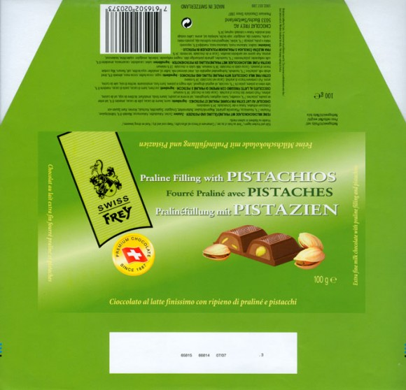 Extra fine milk chocolate with praline filling and pistachios, 100g, Chocolat Frey AG, Buchs/Aargau , Switzerland