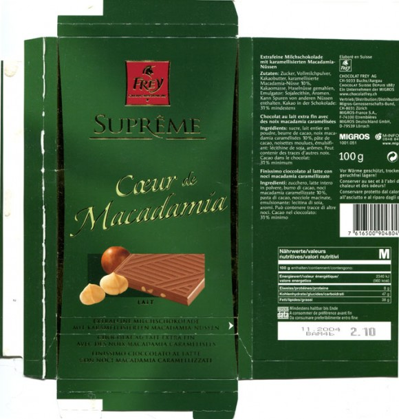 Supreme, Coeur de Macadamia, extra fine milk chocolate with caramel Macadamia nuts, 100g, 11.2004 , Chocolat Frey AG, Buchs, Switzerland