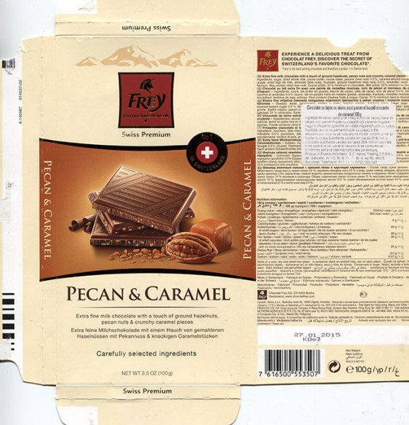 Extra fine milk chocolate with a touch of ground hazelnuts, pecan nuts and crunchy caramel pieces, 100g, 27.01.2014, Chocolat Frey AG, Buchs, Switzerland