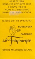 Fine milk chocolate, J.P.Freyburger, Boulangerie Patisserie Confiserie, Tea Room, La Chaux-de-Fonds, Switzerland