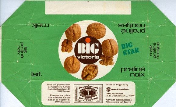 Big Victoria, milk chocolate with nuts, 60g, 1976, General Chocolates, Brussel, Belgium