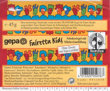 Fairetta kids, milk chocolate, 45g, 06.2001, Gepa mbH, Wuppertal, Germany