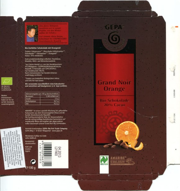 Grand Noir orange, 100g, 04.2012, Gepa The Fair Trade Company, Wuppertal, Germany