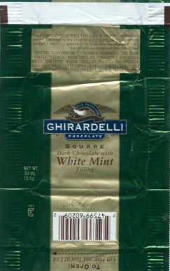 Square, dark chocolate with white mint filling, 15,1g, Ghirardelli chocolate company, San Leandro, USA