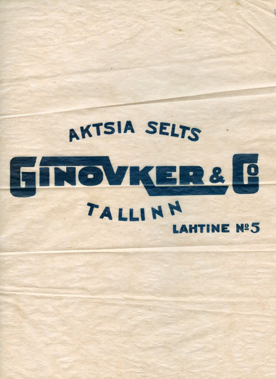 Chocolate N5, about 1930, A/S.Ginovker & Co, Tallinn, Estonia
