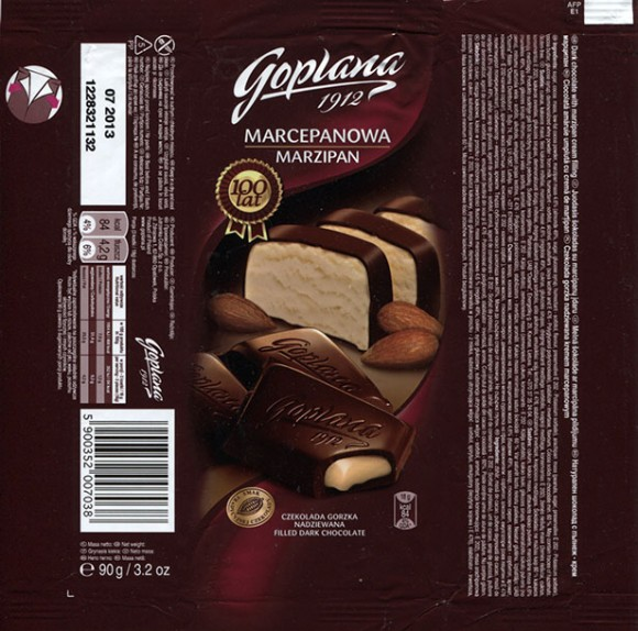 Dark chocolate with marzipan cream filling, 90g, 07.2012, Goplana S.A, Poznan, Poland