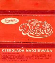 Dolores, filled chocolate, 25g, about 1980, Goplana, Poznan, Poland