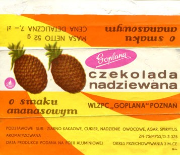 O smaku ananasowym, filled chocolate, 52g, about 1970, Goplana, Poznan, Poland