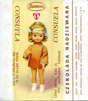 Consuela, filled chocolate, 52g, about 1980, Goplana, Poznan, Poland