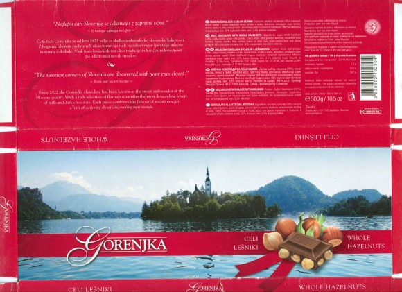 Gorenjka, milk chocolate with whole hazelnuts, 300g, 2008, Gorenjka, Ljubljana, Slovenia