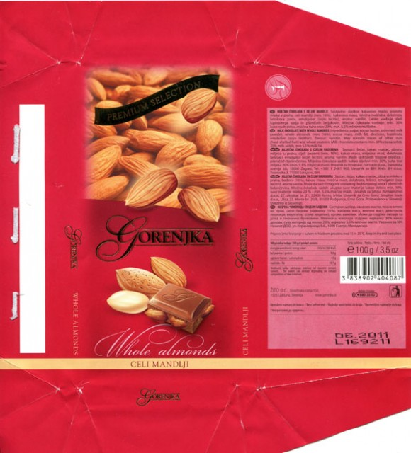 Gorenjka, milk chocolate with whole almonds, 100g, 06.2010, Zito d.d., Ljubljana, Slovenia