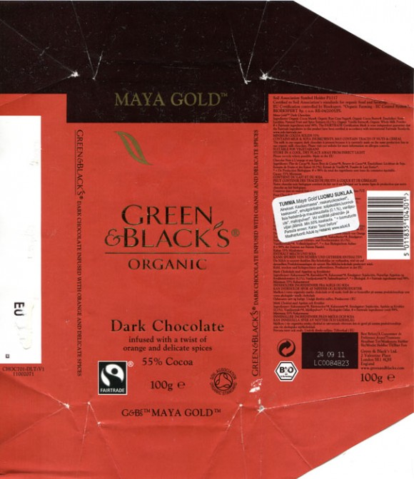 Dark chocolate infused with a twist of orange and delicate spices, 100g, 24.09.2010, Green & Black