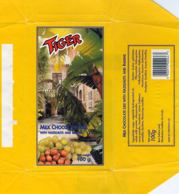 Tiger, milk chocolate with hazelnuts and raisins, 100g, 10.06.1996