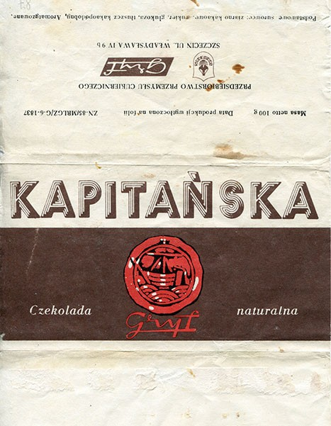 Chocolate Kapitanska, 100g, about 1980, Gryf, Szczecin, Poland