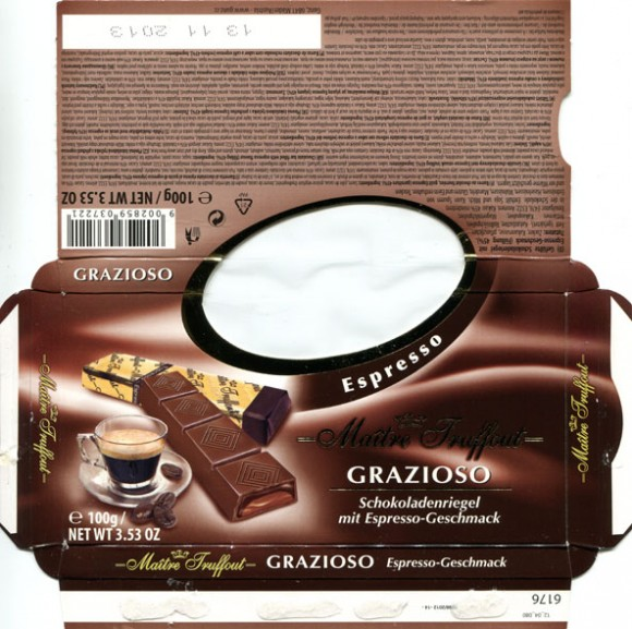 Chocolate bar filled with espresso flavour, 100g, 13.11.2012, Gunz, Mader, Austria