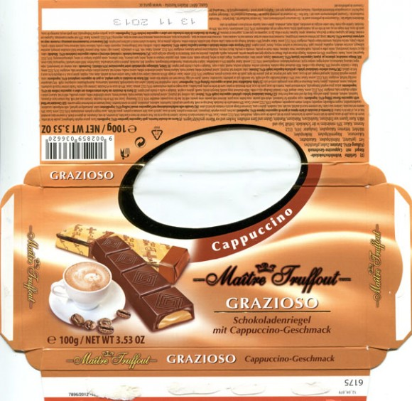 Chocolate bar filled with cappuccino flavour, 100g, 13.11.2012, Gunz, Mader, Austria