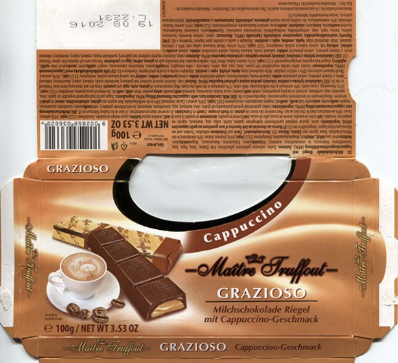 Maitre Truffout, milk chocolate bars with cappuccino flavoured filling, 100g, 19.08.2015, Gunz, Mader, Austria