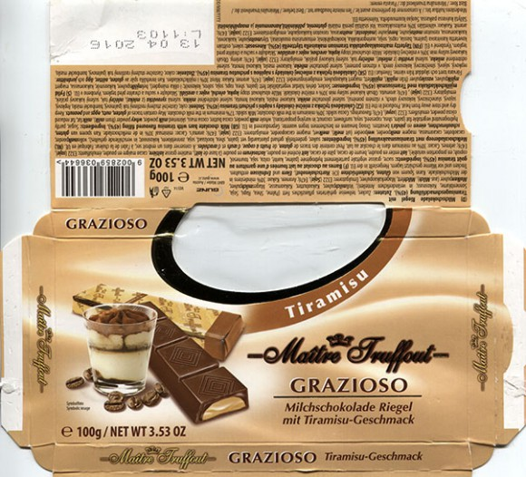 Maitre Truffout, milk chocolate bars with tiramisu flavoured filling, 100g, 13.04.2015, Gunz, Mader, Austria