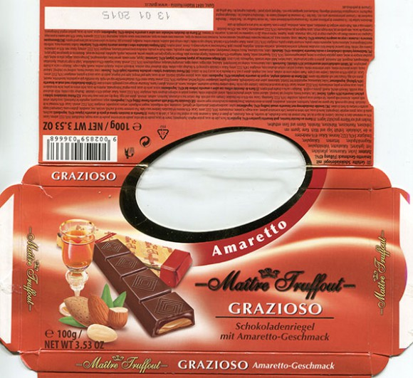 Maitre Truffout, milk chocolate filled with amaretto flavour, 100g, 13.01.2014, Gunz, Mader, Austria