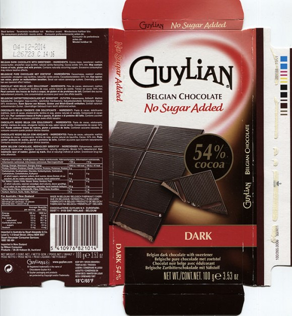 Guylian belgian chocolate, NO SUGAR ADDED, DARK CHOCOLATE WITH SWEETENER, 100G, 04.12.2013, Chocolaterie Guylian N.V., Sint-Niklaas, Belgium