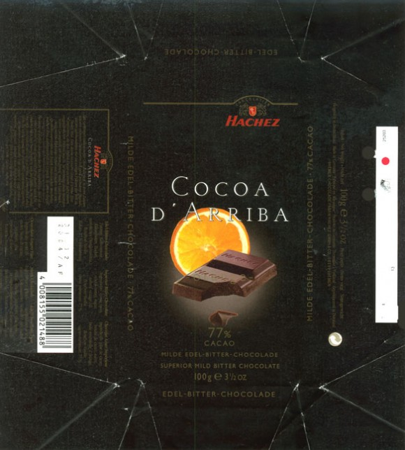 Cocoa D`Akriba, bitter chocolate 77%, 100g, 31.12.2003, Hachez GmbH& Co., Bremen, Germany
