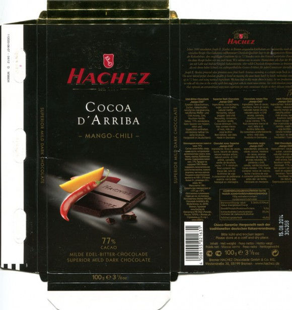 "Cocoa De Arriba, 77% cacao, superior mild dark chocolate ""mango-chili"", 100g, 15.08.2013, Bremer Hachez Chocolade GmbH& Co. KG, Bremen, Germany"