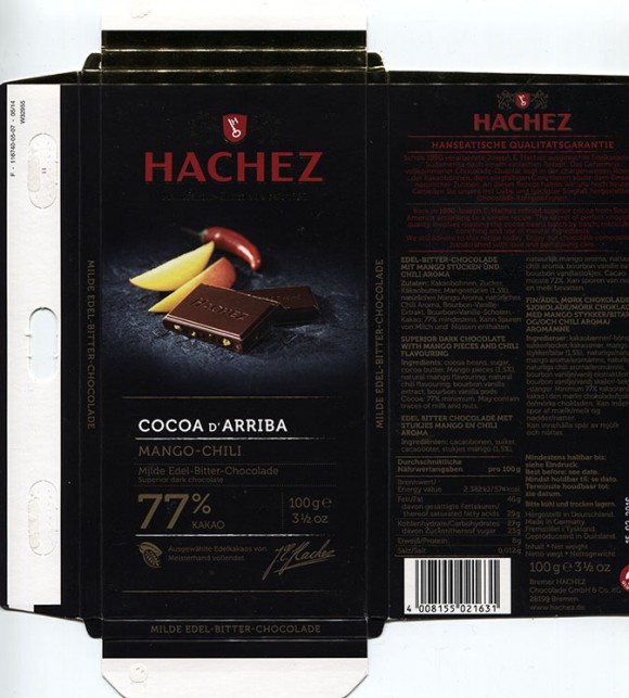 Cocoa De Arriba, 77% cacao, superior dark chocolate with mango pieces and chili flavouring, 100g, 15.03.2015, Bremer Hachez Chocolade GmbH& Co. KG, Bremen, Germany P.S my 5000th chocolate wrapper