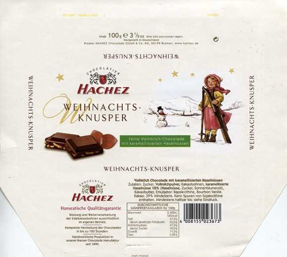 Milk chocolate with hazelnuts, 100g, about 2011, Bremer Hachez Chocolade GmbH& Co. KG, Bremen, Germany