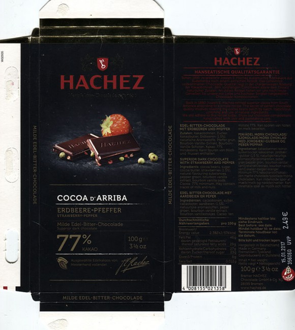 Superior dark chocolate with strawberry and pepper, 100g, 15.01.2016, Bremer Hachez Chocolade GmbH& Co. KG, Bremen, Germany