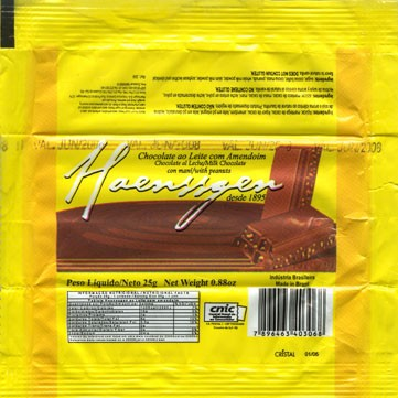 Milk chocolate with peanuts, 25g, 06.2007, Haenssgen S.A., Brasil