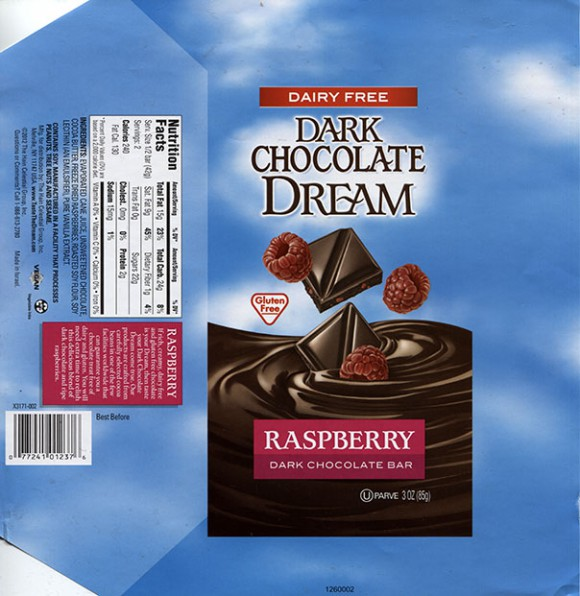 Dream, dark chocolate bar with raspberry, 100g, 2012, made for The Hain Celestial Group Inc., Israel