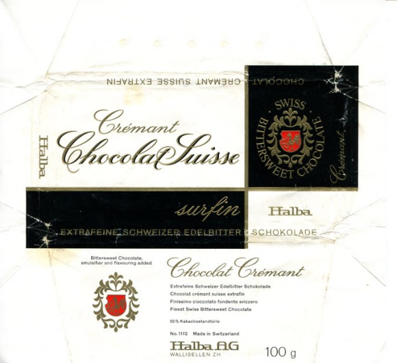 Finest Swiss bittersweet chocolate Cremant, 100g, Halba AG, Wallisellen, Switzerland