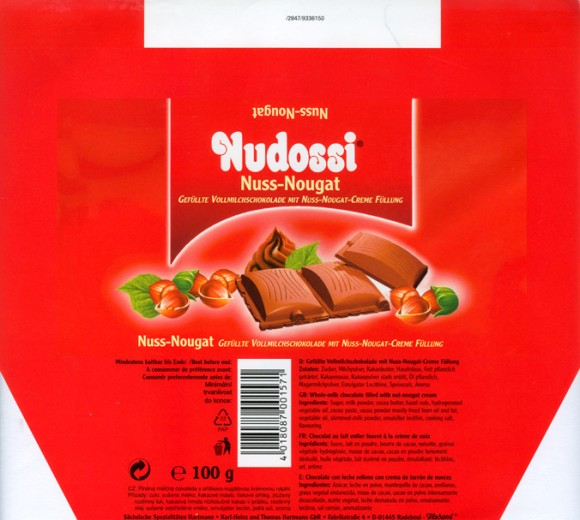 Whole-milk chocolate filled with nut-nougat cream, 100g, Karl-Heinz und Thomas Hartmann GbR, Radebeul, Germany