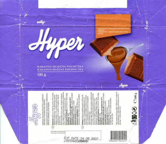 Hyper, compound chocolate bar with cream, 100g, 04.09.2006, HAS Industries Co.Ltd., Tompsan, Bulgaria