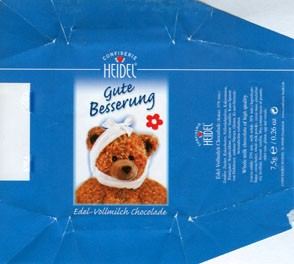 Gute Besserung, whole milk chocolate with high quality, 7,5g, Confiserie Heidel, Osnabruck, Germany