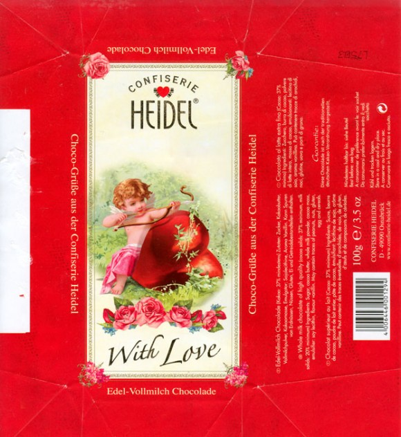 With love, whole milk chocolate with high quality, 100g, 2008, Confiserie Heidel, Osnabruck, Germany