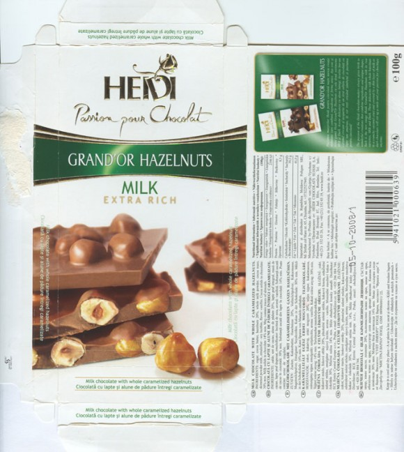 Milk chocolate with whole caramelized hazelnuts, 100g, 05.10.2007, Heidi Chocolats Suisse S.A., Jud.Ilfov, Romania