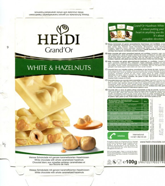 White chocolate with whole caramelized hazelnuts and cornflakes, 100g, 01.10.2011, Heidi Chocolat S.A, Romania