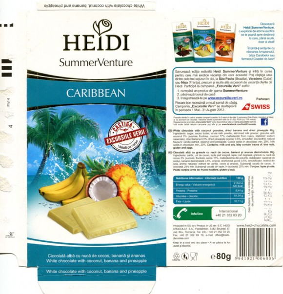Caribbean ,white chocolate with coconut granules, dried banana and dried pineapple, 80g, 21.05.2013, Heidi Chocolat S.A, Romania