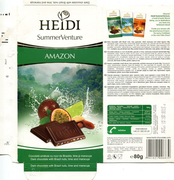 Amazon, dark chocolate with Brazil nuts, lime granules, dried maracuja and dried banana, 80g, 16.05.2012, Heidi Chocolat S.A, Romania