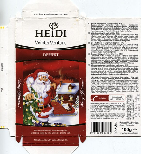 Winter edition, milk chocolate with praline filling 50%, 100g, 25.11.2015, S.C. Heidi Chocolat S.A, Romania