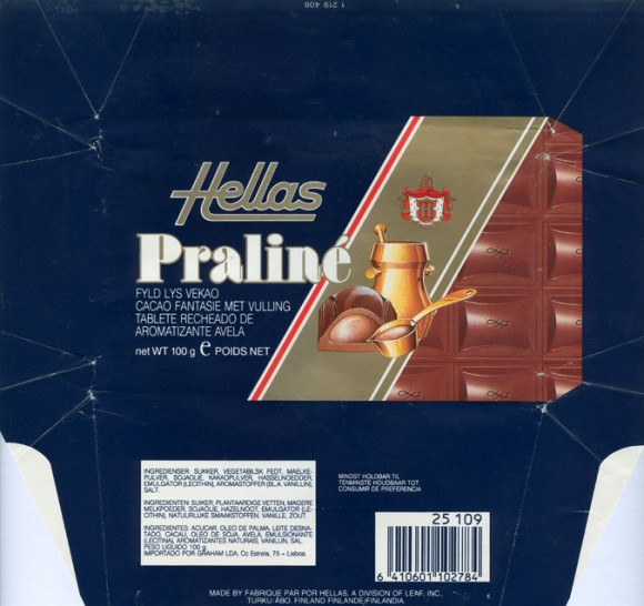 Hellas, praline filled milk chocolate, 100g, 01.03.1991, Hellas, Leaf inc., Turku, Finland